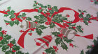 True Vintage Christmas Holly  Bells Tablecloth 61x78 Red Ribbon Green X7