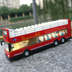 Open-air double-decker sightseeing Bus Model Car Toy 1:66 Diecast Kids Gifts Red