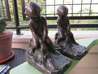 ANTIQUE ORIGINAL BRONZE CLAD BOY ON ROCKS FISHING BOOKENS CIRCA 1922