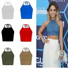 Ladies Celeb Inspired Tie Up Plain Sleeveless Halter Neck Cami Vest Cropped Tops