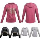 Drawstring Sweatershirt Womens Leopard PINK Letter Print Hooded Hoodie Pullover