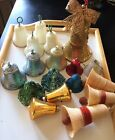 Lot of 18 Vintage Christmas Ornaments Plastic Glass Bells and Glitter Bells