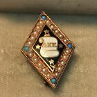 1879 Delta Kappa Epsilon Fraternity Pin Turquoise and Pearls Beta Chapter