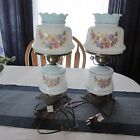 Vintage Hurricane Parlor Lamps 17 3 way Underwriters Lab white glass