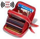 KALMORE Women's Genuine Leather RFID Identity Safe Card Wizard Wallet Small Purs