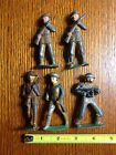 WWI toy Auburn Rubber cannon and  five metal toy soldiers WWI uniforms, Vintage
