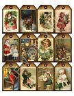 12 Christmas Vintage Graphics Hang Tags Scrapbooking Paper Crafts 12