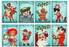 8 Christmas Retro Blue Hang Tags Scrapbooking Journaling Cards Paper Crafts 60