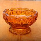 Vintage L.E. Smith Glass Amber Moon and Stars Footed Bowl