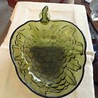 Vintage green glass grape leaf shaped dish