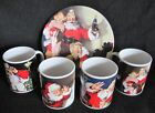 4 COKE SANTA MUGS  + 1 PLATE, Coca Cola Cups, Sakura Christmas Holiday Soda