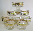 Vintage Mid-Century Set of 8 Gold Leaf Dessert / Ice Cream Glasses