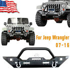 Rock Crawler Front Bumper With Led LightsWinch Plate For 07 16 Jeep Wrangler JK