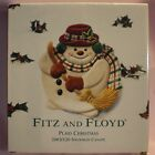 Fitz and Floyd Plaid Christmas Snowman Canape Plate (NEW in Original Box)