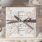 50x Square Laser Cut Wedding Invitations Cards Kits with Bowknot
