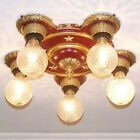 926 Vintage 20s 30s Ceiling Light Lamp Fixture Colonial Stars 5 light