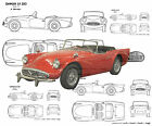 Automobile Drawings Scale 1/12 1/16 1/24 & 1/32 DAIMLER S.P. 250 Digital on Cd