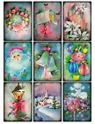 9 Vintage Retro Shabby Christmas Pastel Hang Tags Scrapbooking Paper Craft 273