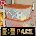 8 Large Plastic Tote Storage Container Clear Stackable Box Set with Lid Bin 58qt