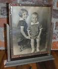Vintage Wood Frame Tilt Swivel Brother Sister Toddler New Lexington OH Art Deco