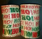 New Set of 2 Rustic Burlap Red  Green Fabric Wired Ribbon 5 in x 9 ft Each