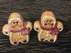 CERAMIC GINGERBREAD BOY AND GIRL SALT AND PEPPER SHAKERS