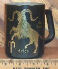 Federal Milk Glass Aries Zodiac Horoscope the Ram Coffee Mug Cup Black Gold