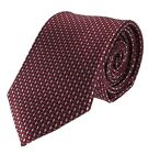 Mens Necktie Red Burgundy with Blue and Tan Accent Pattern Standard Size Tie