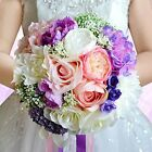 Abbie Home Bride Holding Tossing Flowers Wedding Bouquet Babybreath Rose Bouquet