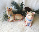 VINTAGE FITZ & FLOYD CLASSICS GOAT & PIG SALT & PEPPER SHAKERS-COUNTRY CHIC