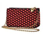 Moschino Black  Red Hearts Chain Small Party Cross Body Bag New
