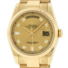 Rolex Day-Date President Champagne Solid 18K Yellow Gold Watch 118238 Oyster