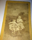 Adorable Antique Victorian Children Large Pull Toy Horse Old CDV Photo C1875