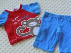 Boys Shirt with Pant in Blue Wild Monkey Print Newborn and 6 9 months