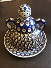 BOLESLAWEIC Cheese/Butter Dish  - Lady - Polish Pottery - Blue Brown- Large