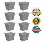 8 Plastic Tote Box 18 Gallon Navy Stackable Storage Bin Container with Lid Set