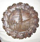 VINTAGE Collectible HAND CARVED 3D PLATE PLAQUE Munich Rathaus Germany 9 Clay