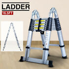 165FT Aluminum Multi Purpose Extention Ladder Folding Telescopic A Frame Shape