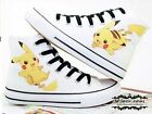 Anime Hand Painted Fans Canvas Shoes Pocket Monster Pikachu Lace Up Sneaker