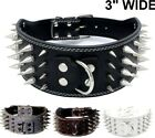 3 WIDE RAZOR SHARP Spiked Studded Leather Dog Pet Collar 4 ROWS 19 22 21 24