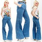 Vtg 70s EXTRA LONG Bellbottoms JEANS High Waisted Disco Hippie Boho Mod Minimal