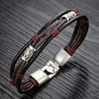 OPK Fashion Mens Beads Leather Braided Rope Bracelet Tribal Cuff Wristband