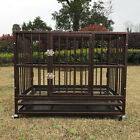 37 Heavy Duty Metal Dog Pet Crate Steel Cage Kennel w Castor  Tray Golden New