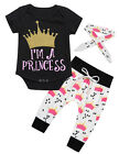Newborn Baby Girls Tops Romper +Long Pants Hairband Outfits Set Clothes 3PCS New