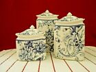 222 Fifth Adelaide Blue Bird Set of 3 Porcelain Canisters w/Lids New
