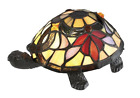 Vintage Bronze with Tiffany Style Stained Glass Shade Turtle Mini Table Lamp