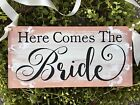 Here comes the Bride Rustic  Wedding decor ring bearer sign Rose ring box
