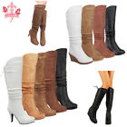 Womens Round Toe Sexy Wedge Heel Mid Calf Knee High Lace Up Slouch Zipper Boots