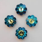 2 Rare Vintage Swarovski 3700 12mm Crystal Bermuda Blue Margarita Sew On Beads