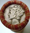 Silver Mercury Dime on the end of a 50-coin Mixed Indian / Wheat Roll 05z